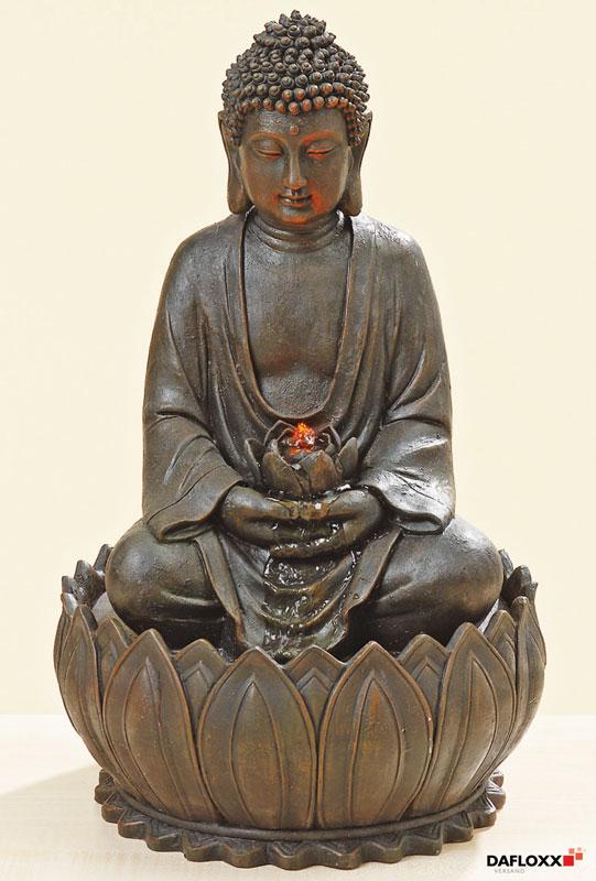 brunnen buddha 52cm h he 34cm durchmesser dunkelbraun. Black Bedroom Furniture Sets. Home Design Ideas