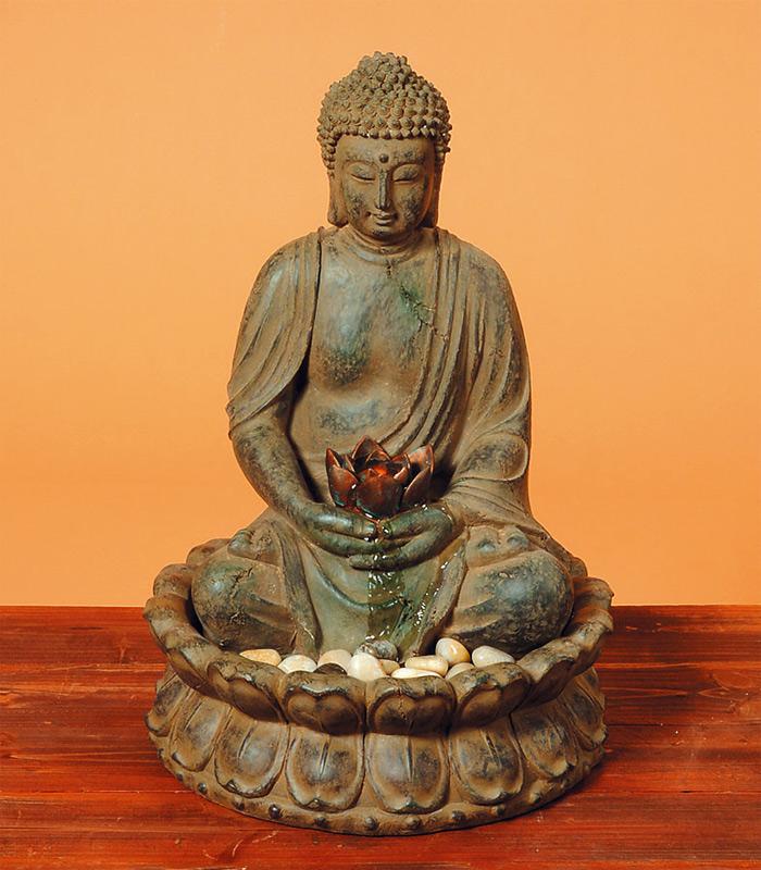 brunnen buddha skulptur statue 52cm wasser licht figur ebay. Black Bedroom Furniture Sets. Home Design Ideas