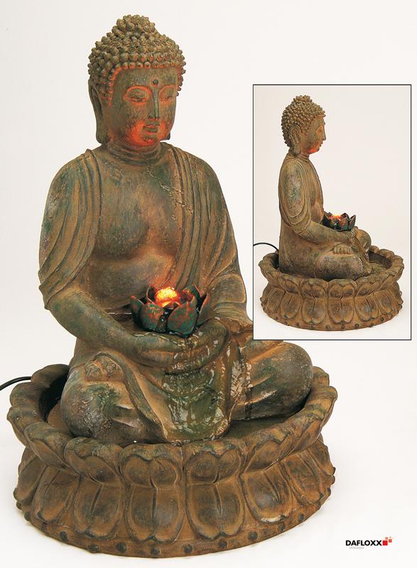 edler brunnen buddha 48cm braun auch f r aussenbereich. Black Bedroom Furniture Sets. Home Design Ideas