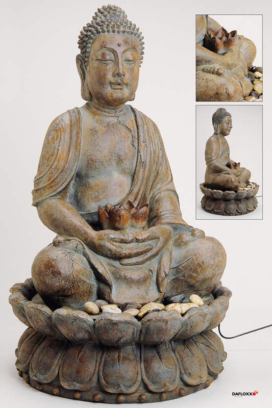 fountain buddha 85cm gray brown also for outdoor figure. Black Bedroom Furniture Sets. Home Design Ideas