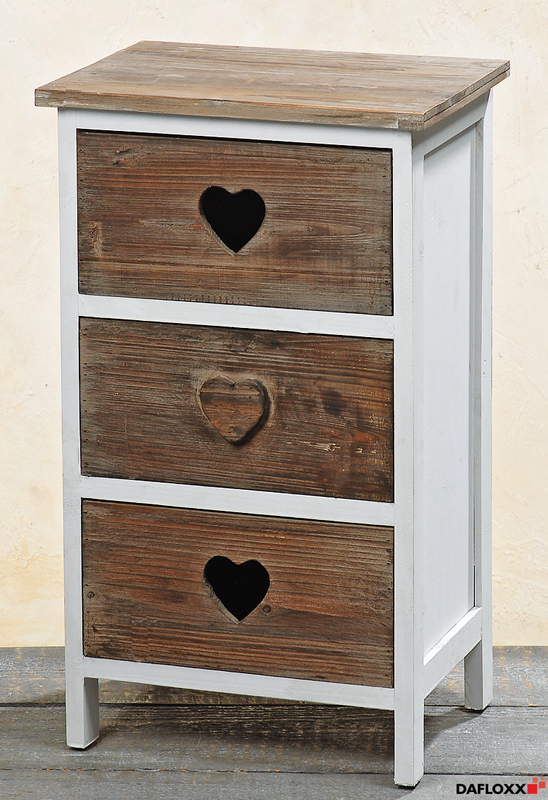 kommode 39 salzburg 39 weiss braun 77x45cm mit herz sideboard anrichte schrank holz ebay. Black Bedroom Furniture Sets. Home Design Ideas