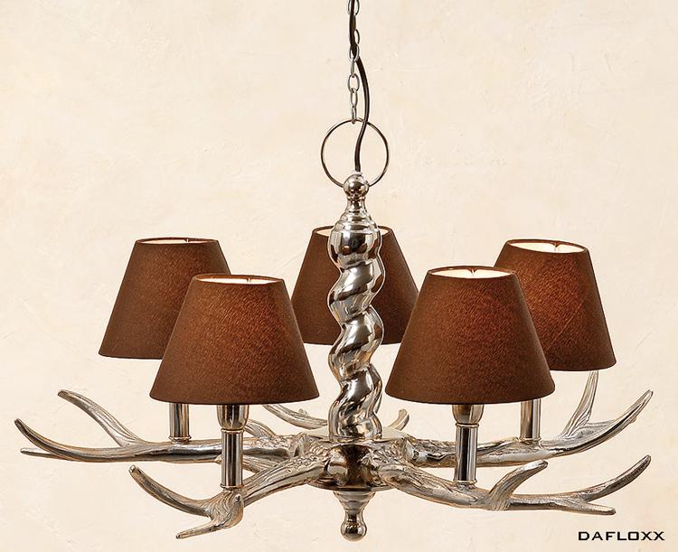 ausgefallener kronleuchter 39 geweih 39 braun silber 5 armig. Black Bedroom Furniture Sets. Home Design Ideas