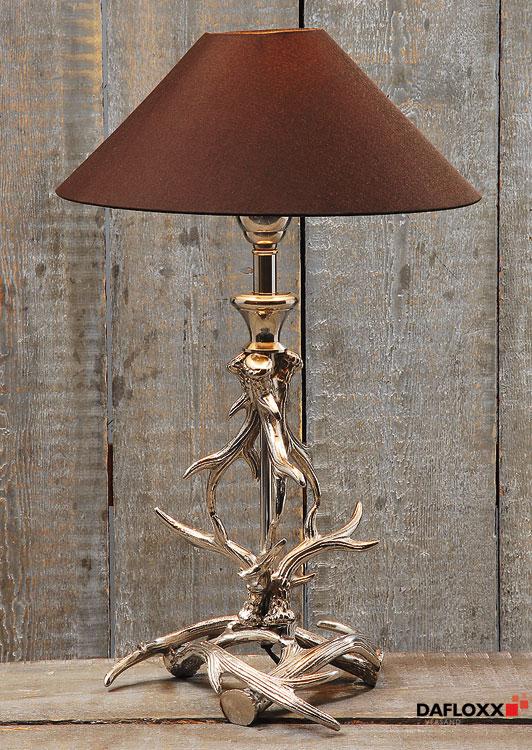 Lampe de chevet bois de cerf m tal parapluie marron for Lampe ast