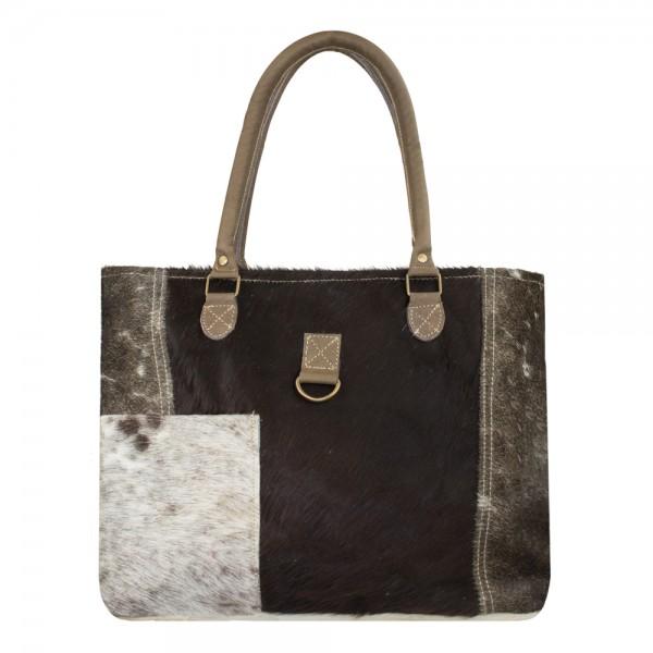 Edle Handtasche Kuhfell 44cm Tasche Shopper Leder Schultertasche Ledertasche