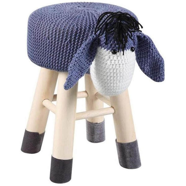 Hocker Esel 44cm Lila Weiß Sitzhocker Wolle Holz Kinderzimmer