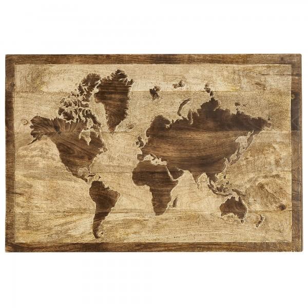 Wandbild Wandobjekt Weltkarte Kontinente Mango Holz 75cm Bild Handmade-Look Neu