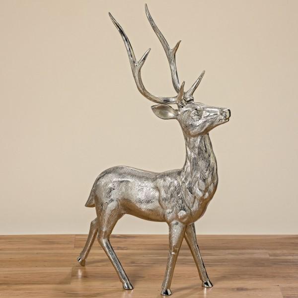 Hirsch Reh Rentier Figur Modell Skulptur Aluminium H91cm Silber Neu Deko Tier