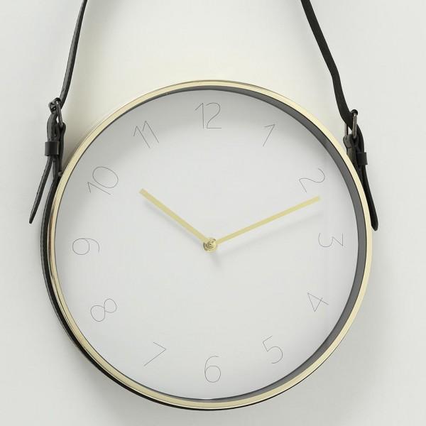Minimalistisch Wanduhr Center D31cm Eisen Metall Gold Schwarz Leder Uhr