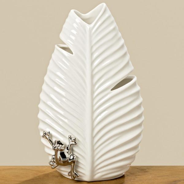 Geniale Vase Ario Weiß 22cm Blatt Frosch Porzellan Dekovase Tischvase