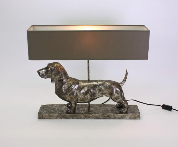 Geniale Tischlampe Dackel Grau Silber 60cm Hund Tier Lampe Tischleuchte