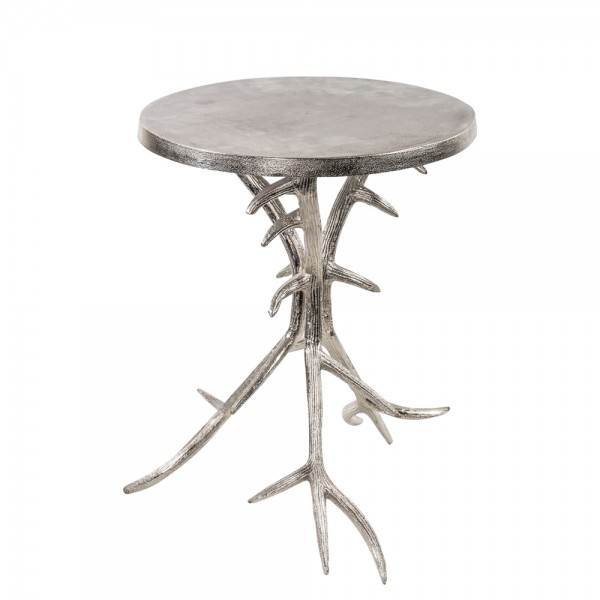 Beistelltisch Geweih 48cm Silber Metall Aluminium Tisch Hirschgeweih