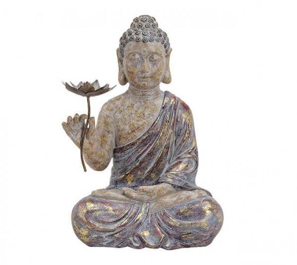 Edler Buddha 50cm in Rot Grau Gold Figur Modell bunt Mönch Statue