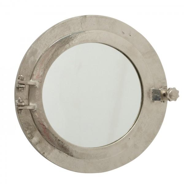 Edler Wandspiegel Bully 40cm Bullauge Silber Rund Aluminium Spiegel