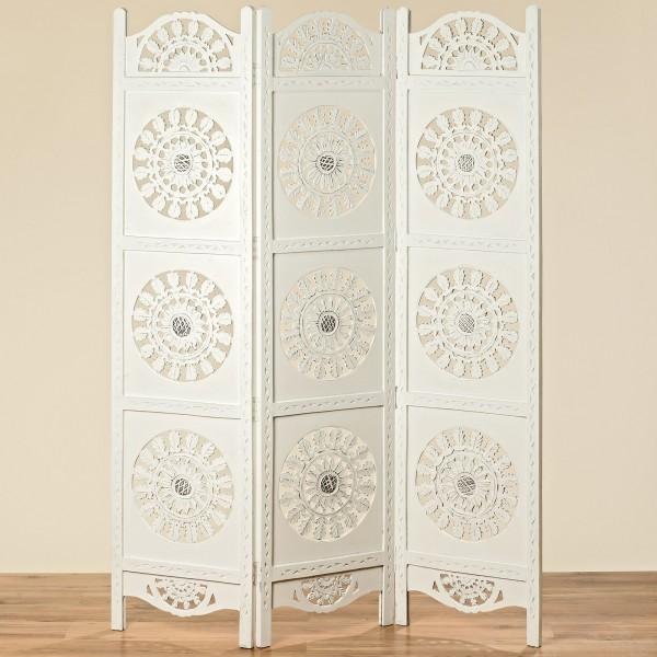 Edler Paravent Olivia Mangoholz 188 x 137cm Holz Weiß Raumteiler Weiss