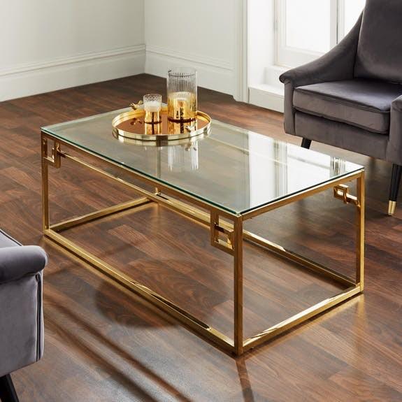 Couchtisch Gold Glas 120cm Logan Metall Tisch Beistelltisch