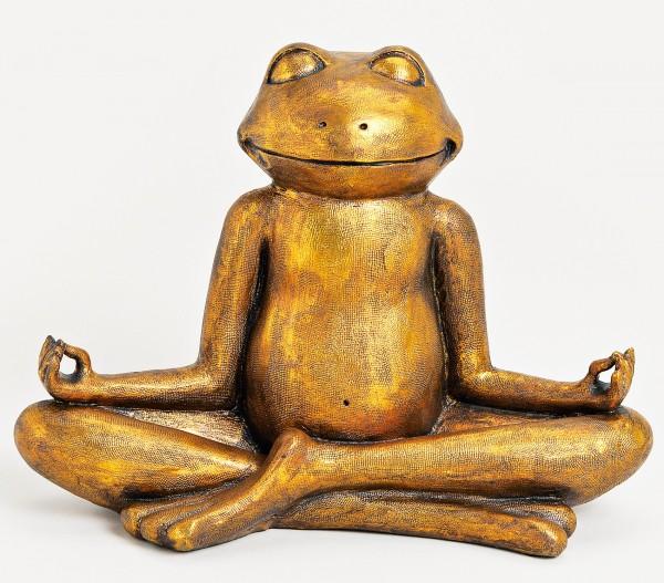 XXL Frosch Relax Gold 43 x 29cm Relaxfrosch Yoga Yogafrosch