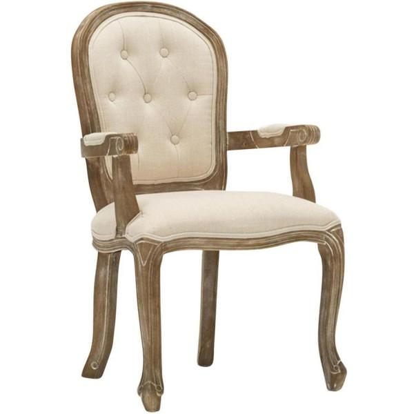 Französischer Sessel Beige Leinen Frankreich Stuhl Antik Barock