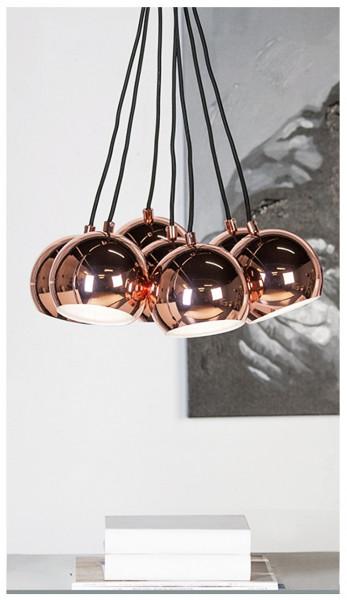 Deckenlampe Kupfer Seven 7 Schirme je 15cm max. 135cm Höhe Lampe Kronleuchter