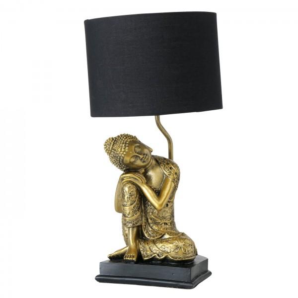 Geniale Tischlampe Buddha Gold Schwarz 48cm Mönch Lampe Tischleuchte