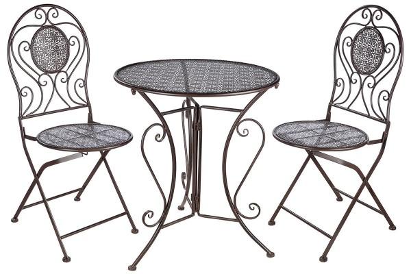 Tisch Set 2 Stühle Kleeblatt Casablanca Gartentisch Braun Gartenstuhl Garten Stuhl