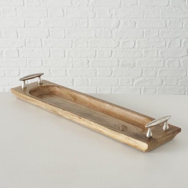 Serviertablett Holz 76cm Braun Silber Tablett Landhaus Aluminium