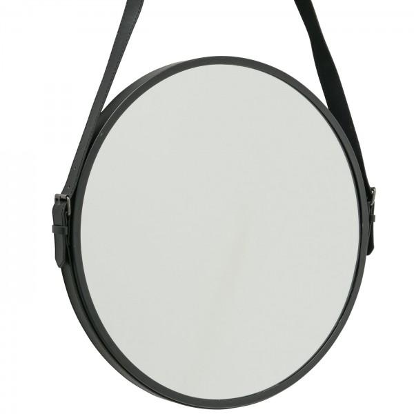 Edler Wandspiegel 45cm Paso Boltze Schwarz rund Tau Seil Leder Spiegel