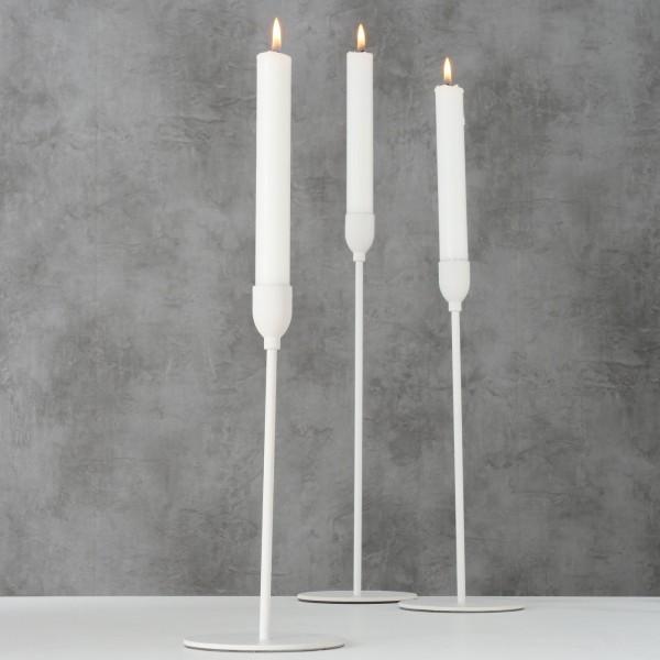 3er Set Kerzenleuchter Malte 23 bis 33cm Weiss Kerzenständer Weiß Tischleuchter