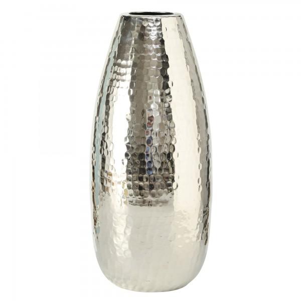 Vase Gisa H50cm Aluminium Silbern Hammerschlag Tischvase Dekovase Alu