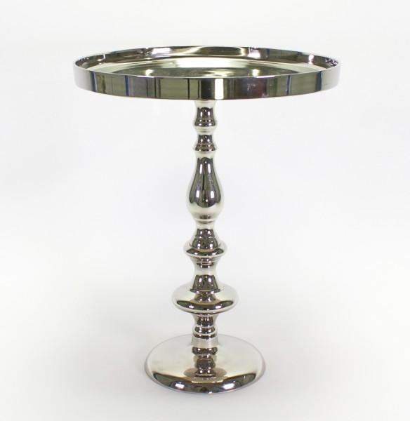 Edler Tabletttisch Silber 51cm Beistelltisch Metall Alu Aluminium Tisch Tablett