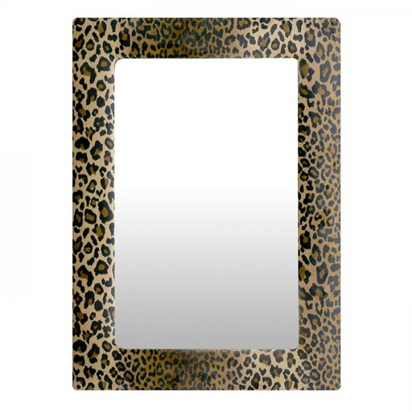 Wandspiegel Casablanca 70x50cm Leopard Braun Samt Tiger Gepard Spiegel