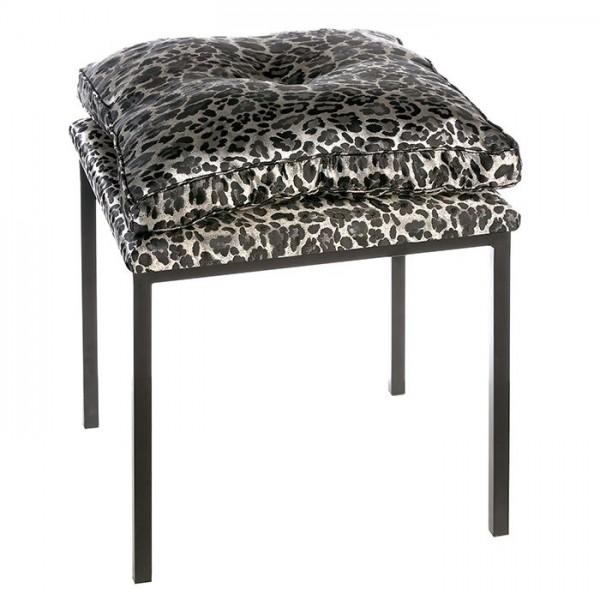 Edler Hocker Kissen Casablanca Leopard Samt Schwarz Grau Sitzhocker Tiger Gepard