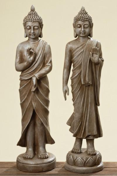 2er Set Buddha 80cm Höhe in Antik Braun für Garten und Heim