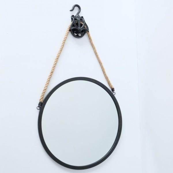 Genialer Wandspiegel Juri 50cm Schwarz Eisen rund Tau Seil Spiegel