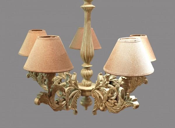 Kronleuchter Antik 5 flammig braune Schirme Holz Deckenlampe Barock Beige