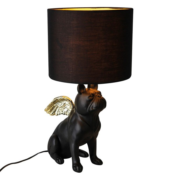 Tischlampe Bully Casablanca Bulldogge Flügel Schwarz Hund Lampe