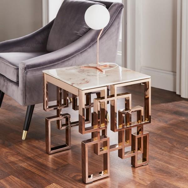 Beistelltisch Rose Gold Marmor Ellie Metall Tisch Couchtisch