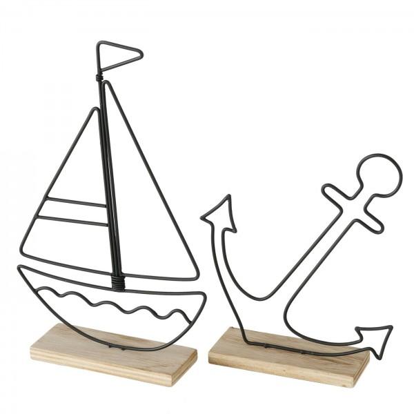2er Set Segelboot und Anker auf Sockel 22cm Boot Schiff Holz Eisen