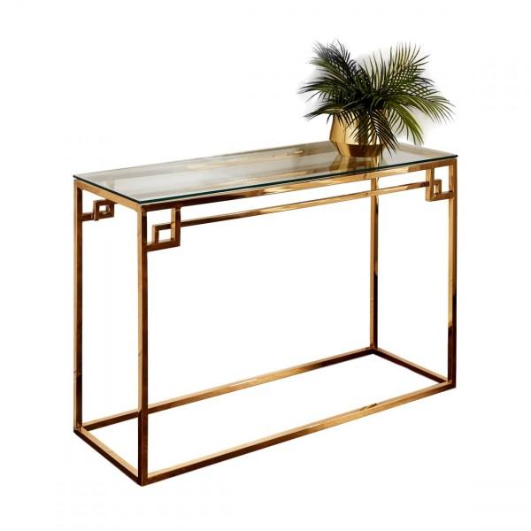 Konsolentisch Gold Glas 120cm Cesar griechisch poliert Tisch Edelstahl