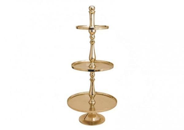 Edle Etagere 100cm Höhe vernickelt Gold Gebäckschale Servierständer Servierplatte