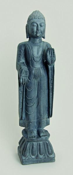 XXL Buddha 113cm Grau Steinoptik Buddhafigur Mönch Feng Shui