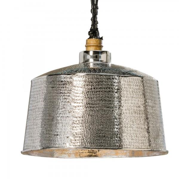 Silberne Deckenlampe Hammerschlag Aluminium D41cm Glanz Nobel Silber Industrie