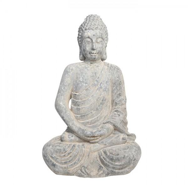 Edler XL Buddha 90cm Grau Stein Optik Figur Modell Mönch Buddhafigur Statue
