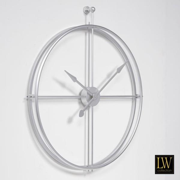 XL große Wanduhr 80cm Alberto Silber Metall Uhr Wand