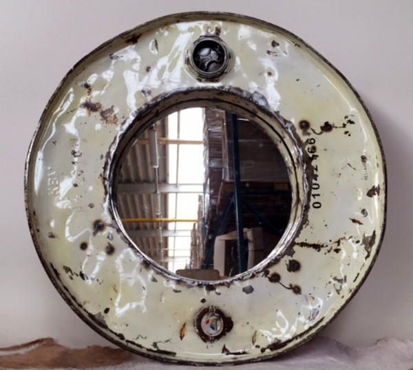 Genialer Wandspiegel rund 60cm Ölfass Used Look Fass Spiegel Metall Industry