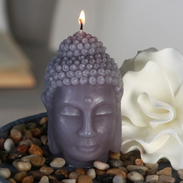Geniale Buddhakopf Kerze 12cm Grau 40 Stunden Buddha Kopf Buddhakerze