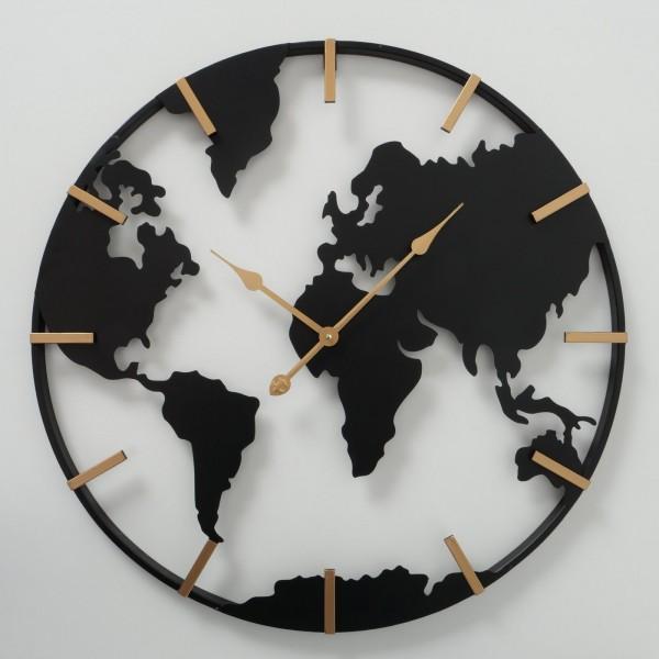 Edle Wanduhr Uhr Union D74cm Schwarz Eisen Welt World Metall Uhr