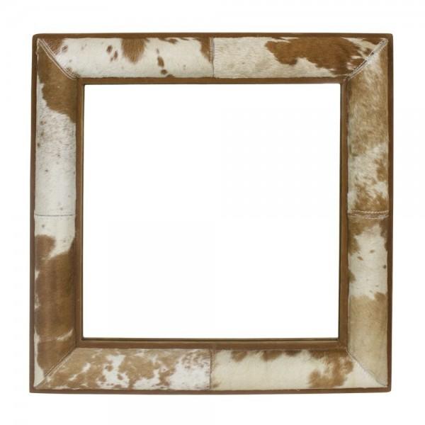 Genialer Wandspiegel 50x50cm Braun Kuhfell Rahmen Kuh Spiegel Kuhfellrahmen