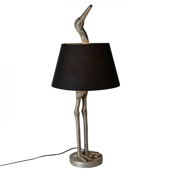 Stehlampe Kranich Casablanca 82cm Gilde Vogel Schwarz Silber Lampe Tischlampe