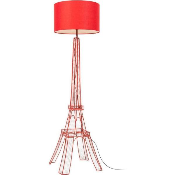 Stehlampe Eiffelturm 140cm Rot Lampe mit Schirm Bodenlampe