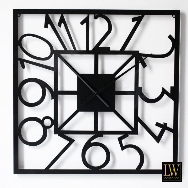 Große Wanduhr Schwarz 60cm quadratisch Metall Quadrat Uhr Wand